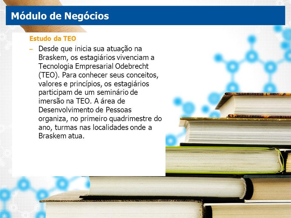 Estudo da TEO – Desde que inicia sua atuação na Braskem, os estagiários vivenciam a Tecnologia Empresarial Odebrecht (TEO). Para conhecer seus conceit