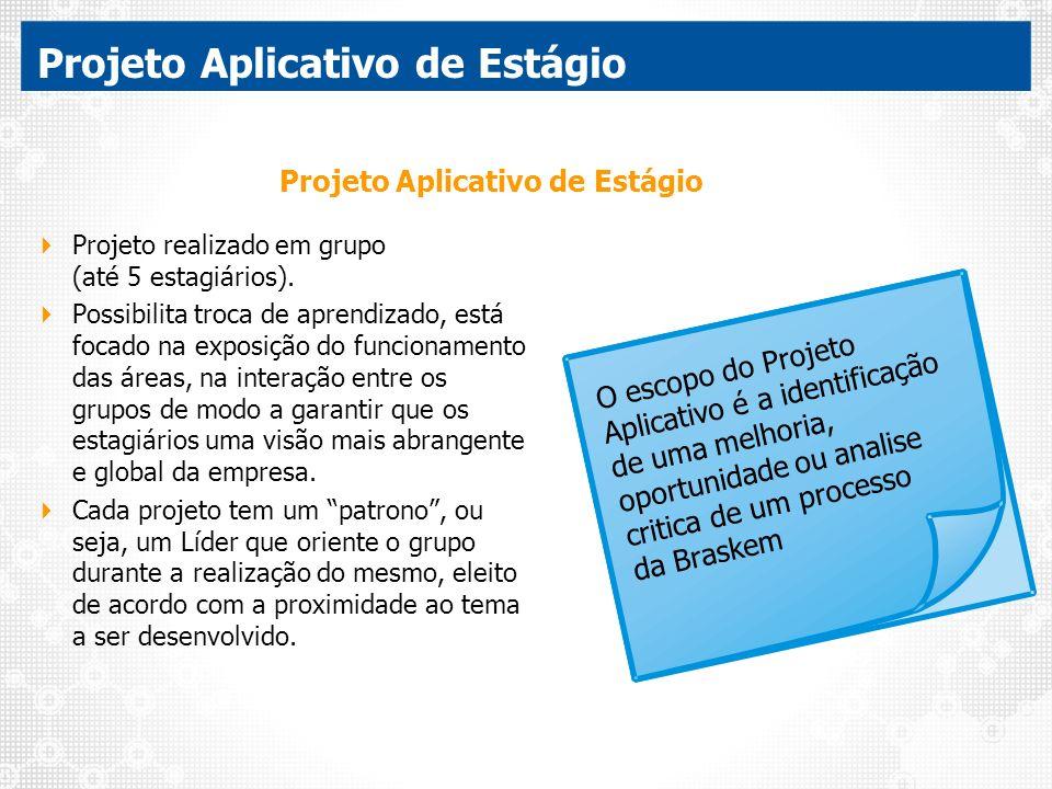 Projeto Aplicativo de Estágio Projeto realizado em grupo (até 5 estagiários). Possibilita troca de aprendizado, está focado na exposição do funcioname