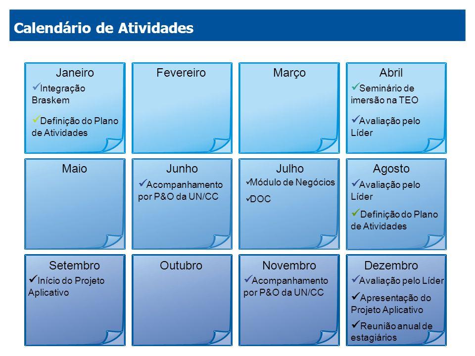 JaneiroFevereiroMarçoAbril MaioJunhoJulhoAgosto SetembroOutubroNovembroDezembro Integração Braskem Definição do Plano de Atividades Seminário de imers