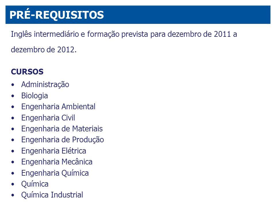 Inglês intermediário e formação prevista para dezembro de 2011 a dezembro de 2012. CURSOS Administração Biologia Engenharia Ambiental Engenharia Civil