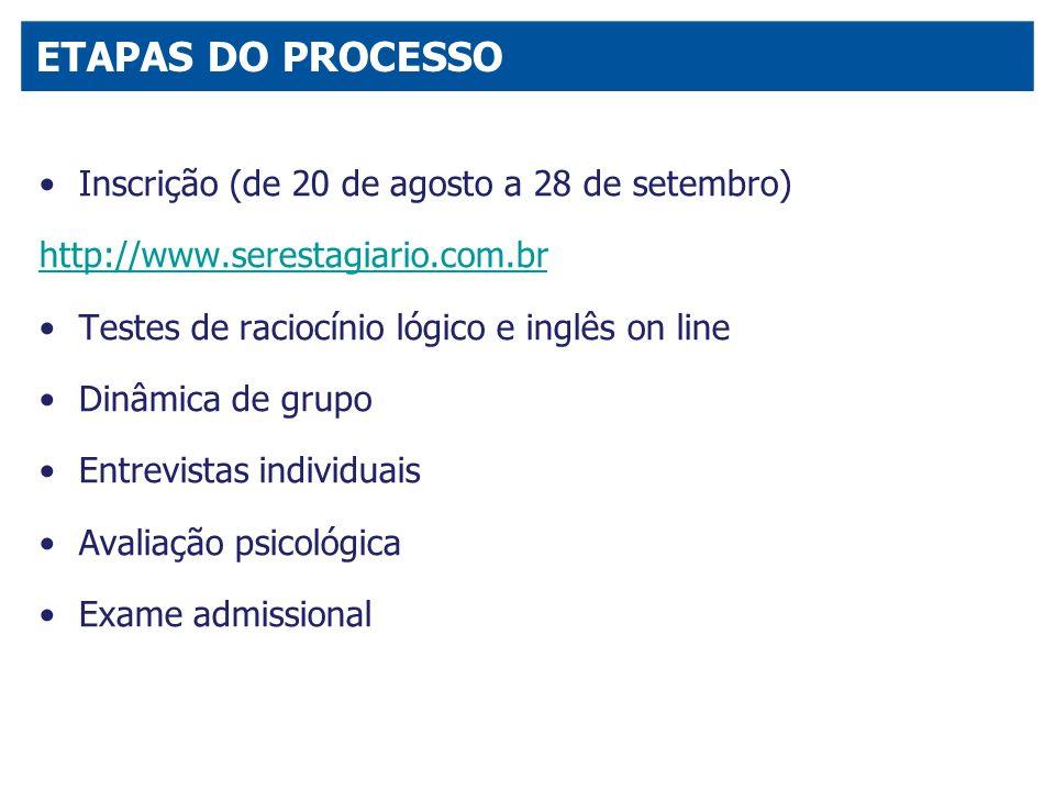 Inscrição (de 20 de agosto a 28 de setembro) http://www.serestagiario.com.br Testes de raciocínio lógico e inglês on line Dinâmica de grupo Entrevista