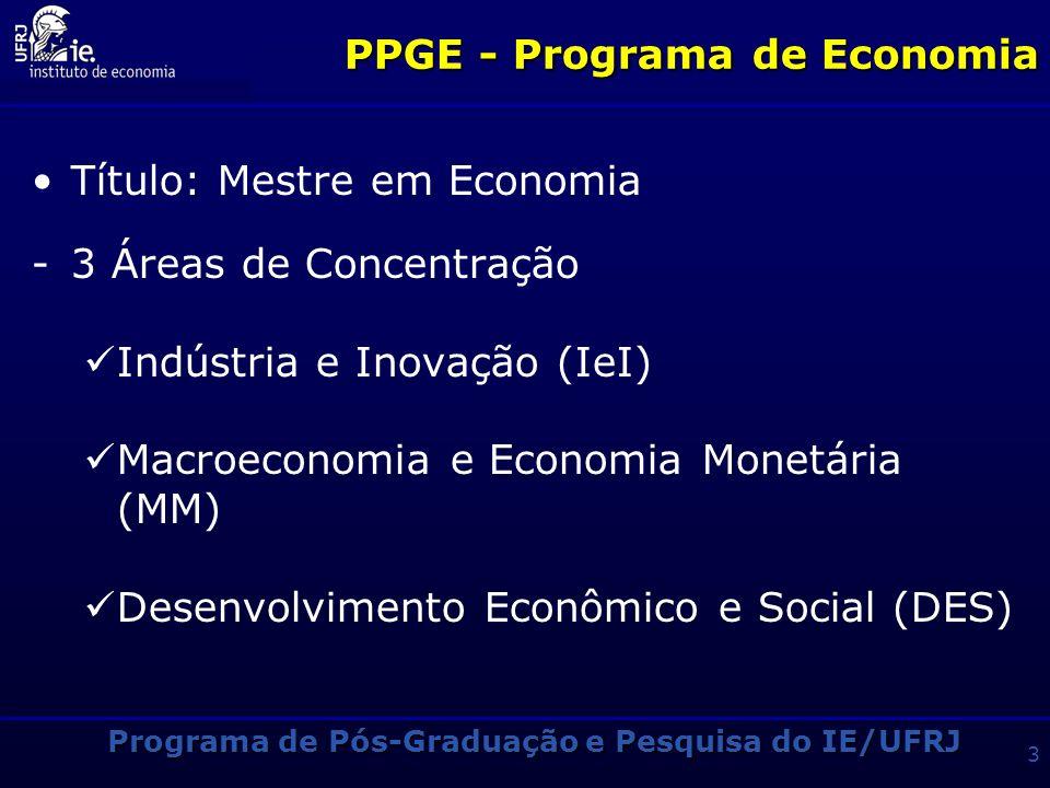 Programa de Pós-Graduação e Pesquisa do IE/UFRJ 3 PPGE - Programa de Economia Título: Mestre em Economia -3 Áreas de Concentração Indústria e Inovação (IeI) Macroeconomia e Economia Monetária (MM) Desenvolvimento Econômico e Social (DES)