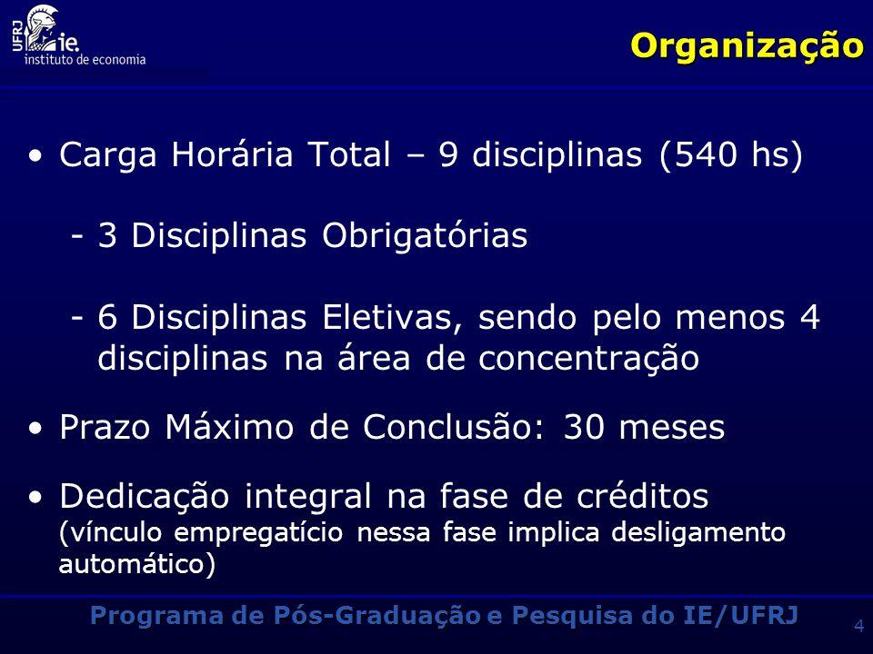 Programa de Pós-Graduação e Pesquisa do IE/UFRJ 4Organização Carga Horária Total – 9 disciplinas (540 hs) -3 Disciplinas Obrigatórias -6 Disciplinas Eletivas, sendo pelo menos 4 disciplinas na área de concentração Prazo Máximo de Conclusão: 30 meses Dedicação integral na fase de créditos (vínculo empregatício nessa fase implica desligamento automático)