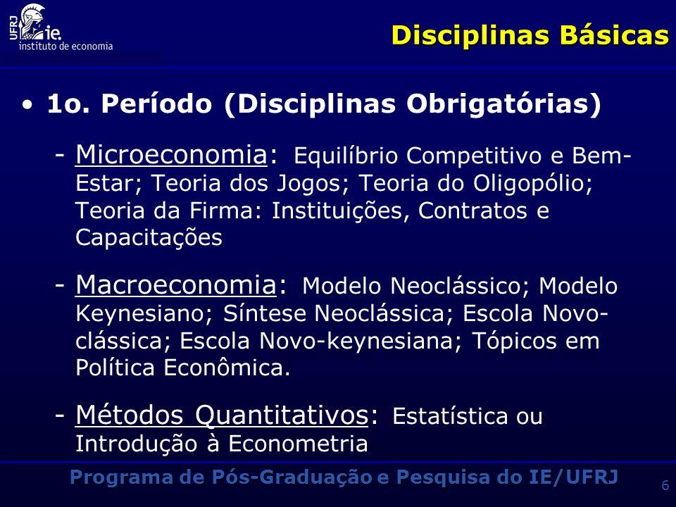 Programa de Pós-Graduação e Pesquisa do IE/UFRJ 16 Os Grupos de Pesquisa O IE possui vários Grupos de Pesquisa que refletem a sua pluralidade intelectual e a diversidade dos programas de investigação A pesquisa no IE/UFRJ pode ser organizada em diversos núcleos de competência, que abrangem um ou mais grupos de pesquisa No sítio do IE (www.ie.ufrj.br) encontram-se discriminados os Grupos de Pesquisa, suas atividades, seus projetos concluídos e em andamento e suas principais publicações