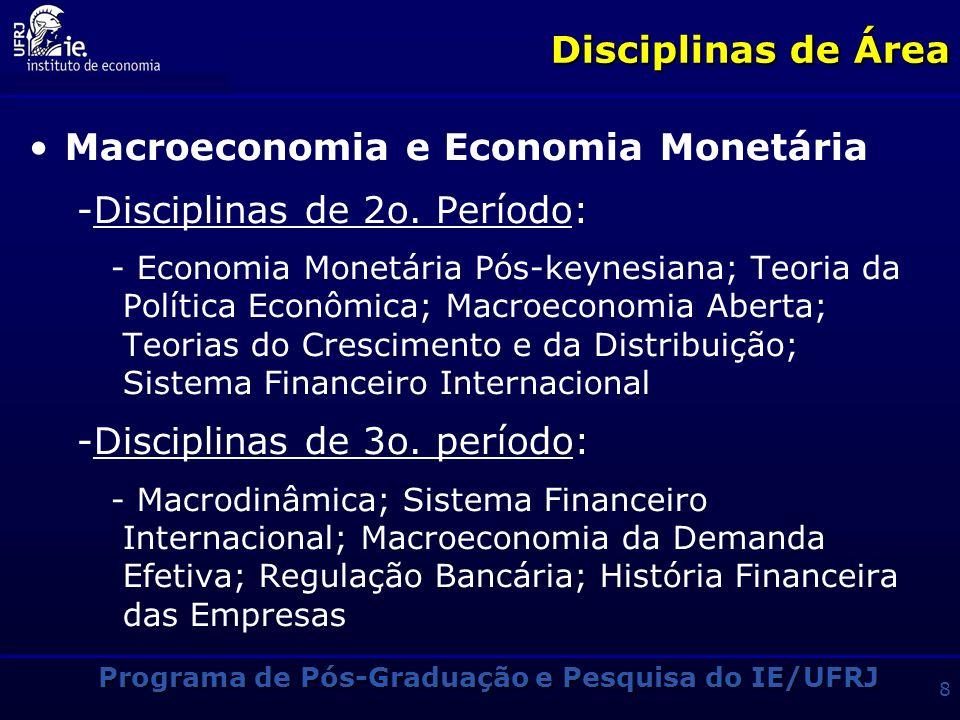 Programa de Pós-Graduação e Pesquisa do IE/UFRJ 8 Disciplinas de Área Macroeconomia e Economia Monetária -Disciplinas de 2o.