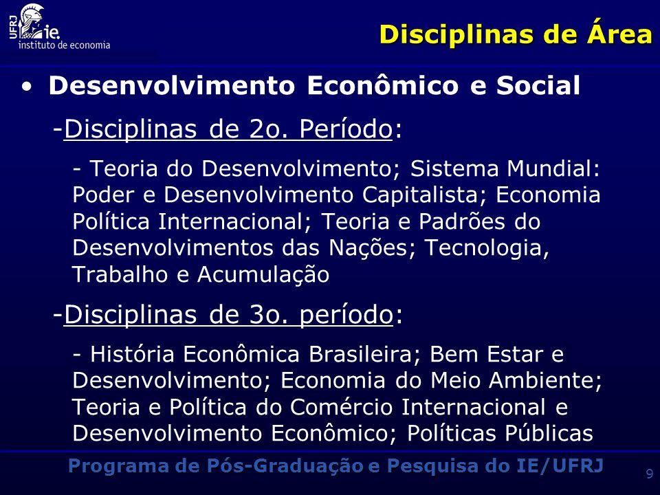 Programa de Pós-Graduação e Pesquisa do IE/UFRJ 9 Disciplinas de Área Desenvolvimento Econômico e Social -Disciplinas de 2o.