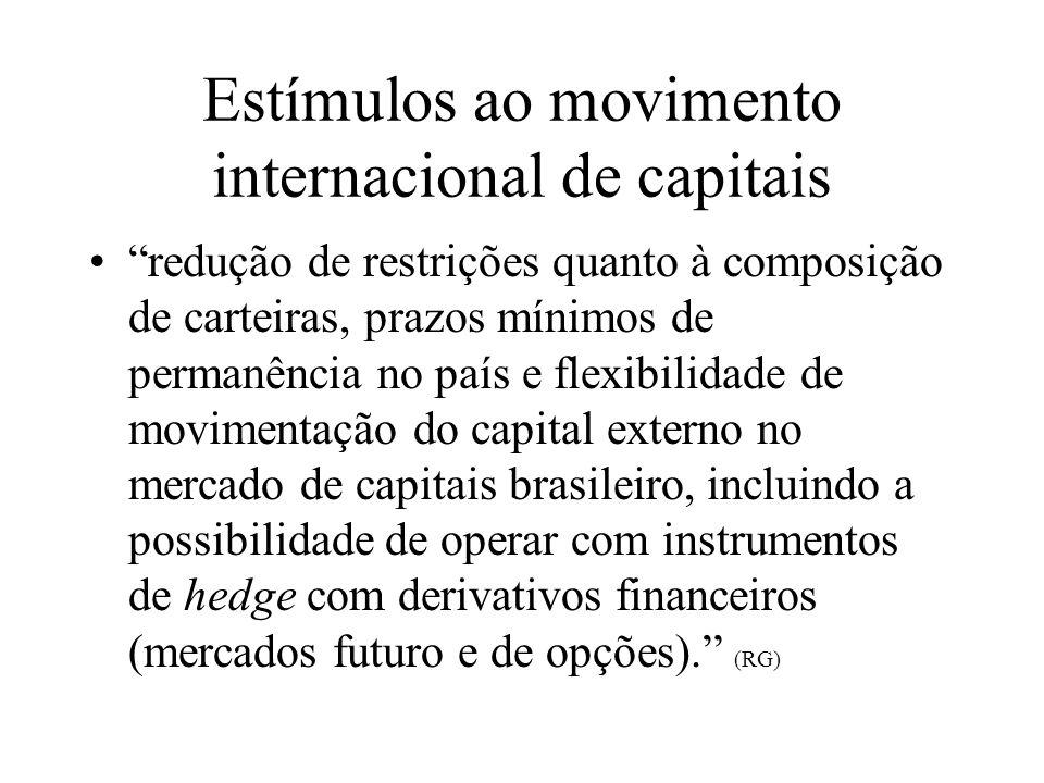 Liberalização cambial e financeira no Brasil: Duas questões O país teria as pré-condições necessárias para a realização de um amplo e profundo processo de liberalização cambial via conta de capital.