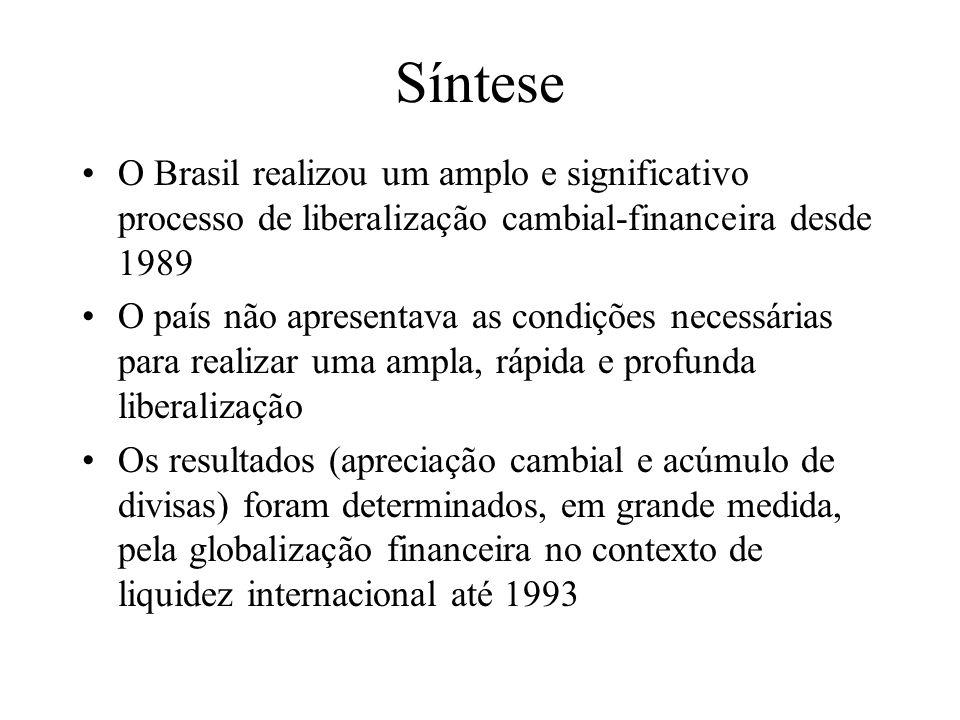 Síntese (cont.) O impacto macroeconômico da liberalização foi negativo no longo prazo A vulnerabilidade externa do país tornou-se ainda mais crítica no contexto da globalização financeira com liberalização cambial-financeira