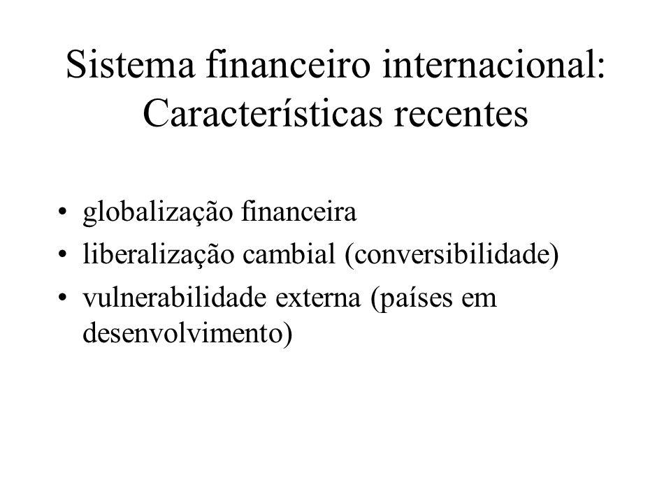 Globalização financeira maior integração entre os sistemas financeiros nacionais (países em desenvolvimento + economias emergentes) acirramento da concorrência (bancos e instituições financeiras não-bancárias) avanço do processo de internacionalização da produção de serviços financeiros (novos instrumentos financeiros, novas estratégias de diversificação dos investidores institucionais, instabilidade do SMI e do SFI após a ruptura de Bretton Woods)