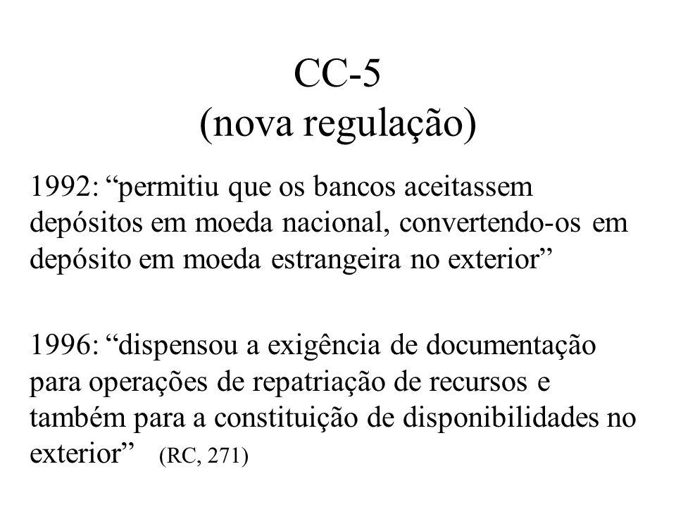 CC-5 (nova regulação) 1992: permitiu que os bancos aceitassem depósitos em moeda nacional, convertendo-os em depósito em moeda estrangeira no exterior