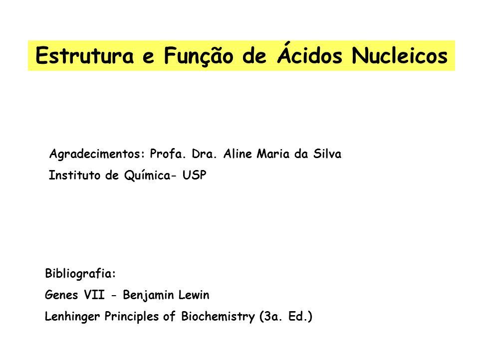 Bibliografia: Genes VII - Benjamin Lewin Lenhinger Principles of Biochemistry (3a. Ed.) Agradecimentos: Profa. Dra. Aline Maria da Silva Instituto de
