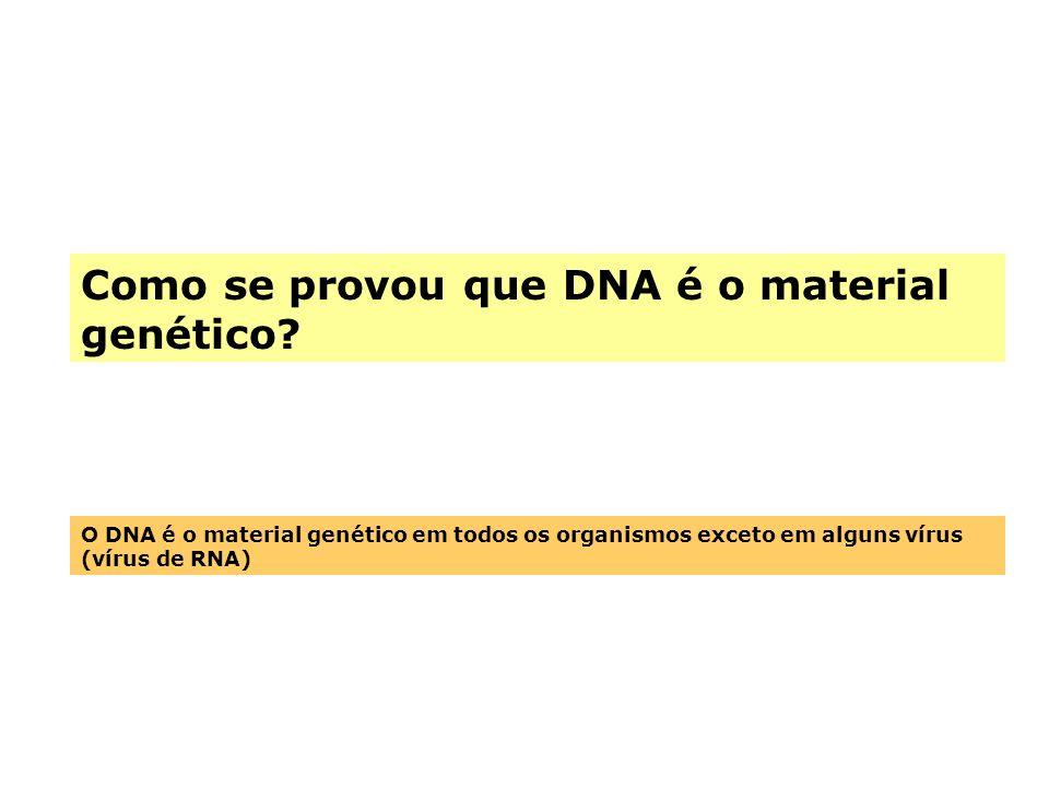 Como se provou que DNA é o material genético? O DNA é o material genético em todos os organismos exceto em alguns vírus (vírus de RNA)