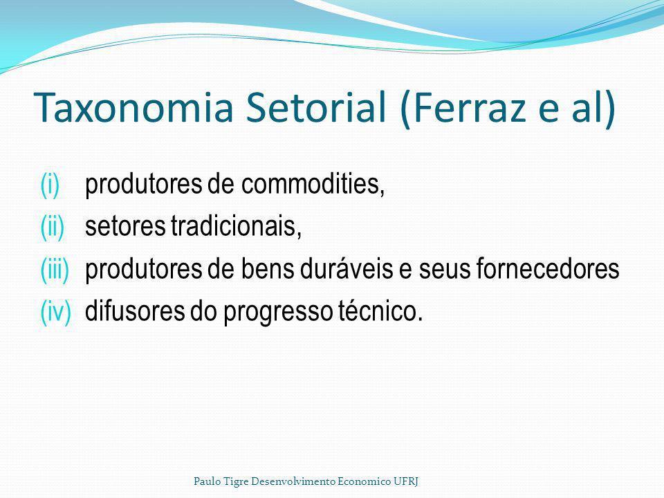 Taxonomia Setorial (Ferraz e al) (i) produtores de commodities, (ii) setores tradicionais, (iii) produtores de bens duráveis e seus fornecedores (iv)