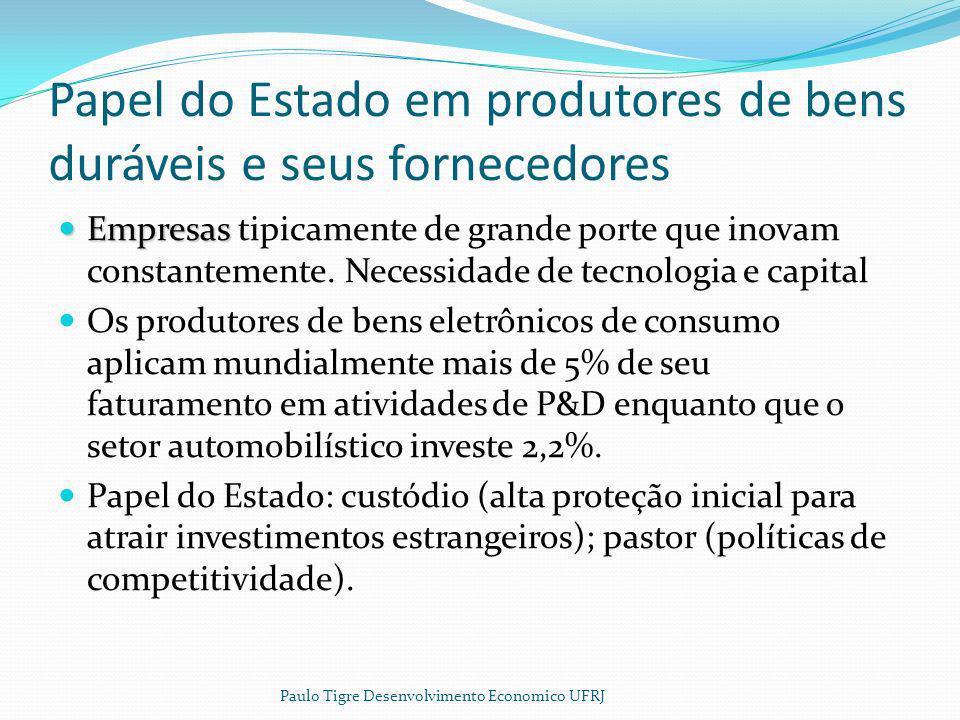 Papel do Estado em produtores de bens duráveis e seus fornecedores Empresas Empresas tipicamente de grande porte que inovam constantemente. Necessidad