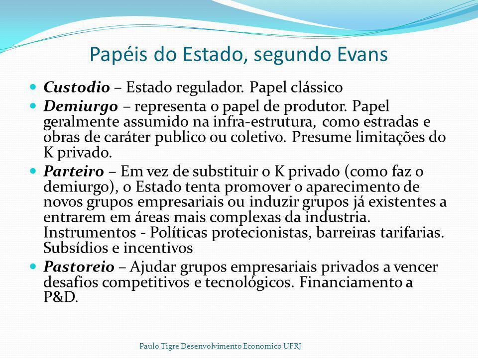 Papéis do Estado, segundo Evans Custodio – Estado regulador. Papel clássico Demiurgo – representa o papel de produtor. Papel geralmente assumido na in