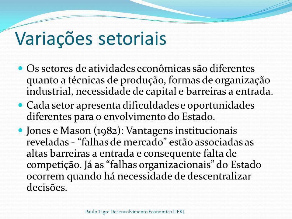 Vantagens institucionais Empresas estatais usufruem de uma vantagem institucional quando as firmas de um setor são grandes em relação ao mercado; quando são intensivas em capital; quando produz produtos padronizados ou exportações baseados em recursos naturais.