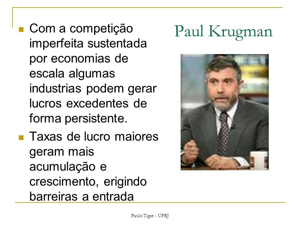 Paul Krugman Com a competição imperfeita sustentada por economias de escala algumas industrias podem gerar lucros excedentes de forma persistente. Tax