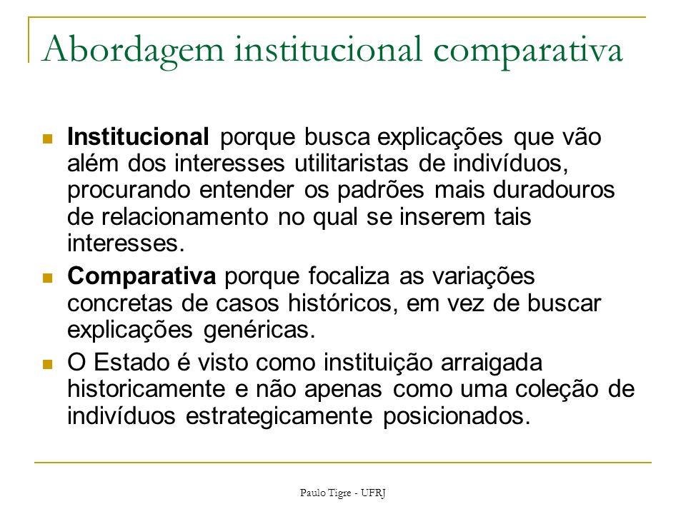 Abordagem institucional comparativa Institucional porque busca explicações que vão além dos interesses utilitaristas de indivíduos, procurando entende