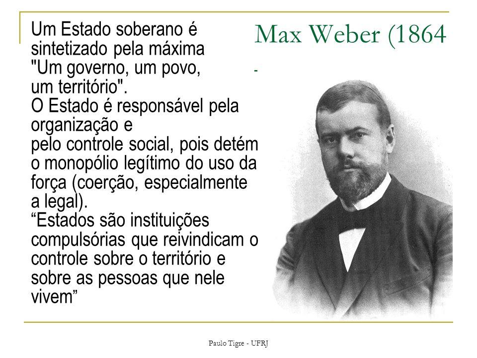Max Weber (1864 – 1920) Um Estado soberano é sintetizado pela máxima