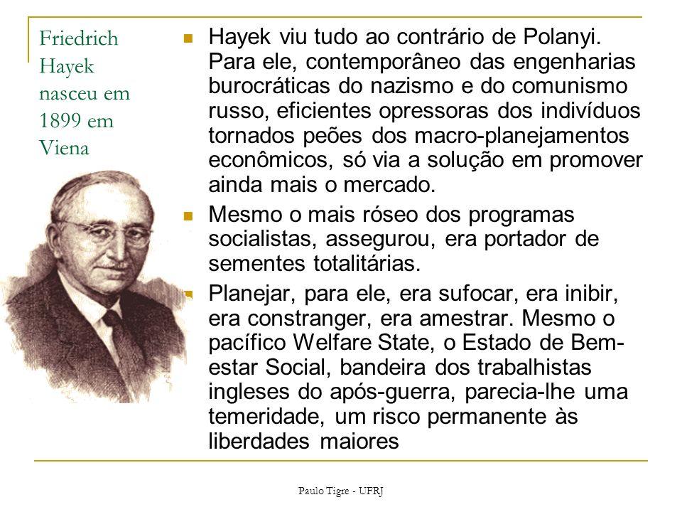 Friedrich Hayek nasceu em 1899 em Viena Hayek viu tudo ao contrário de Polanyi. Para ele, contemporâneo das engenharias burocráticas do nazismo e do c