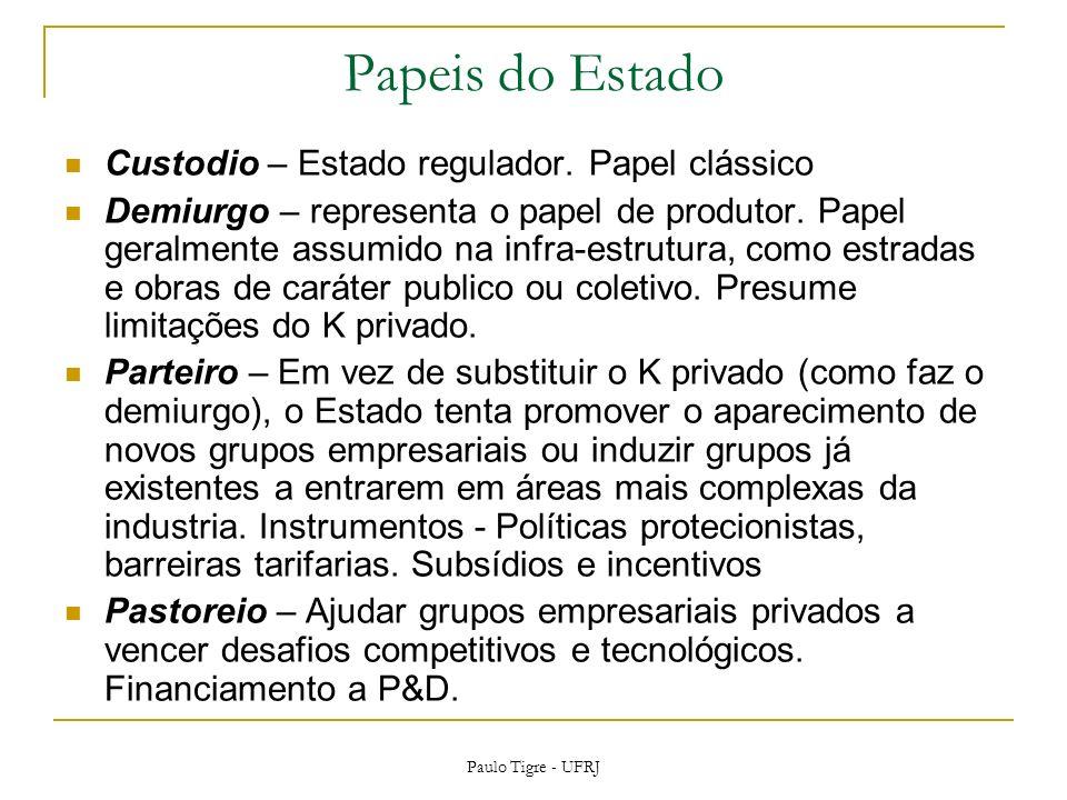 Papeis do Estado Custodio – Estado regulador. Papel clássico Demiurgo – representa o papel de produtor. Papel geralmente assumido na infra-estrutura,