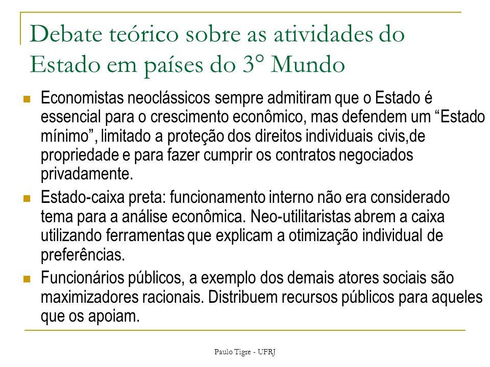 Debate teórico sobre as atividades do Estado em países do 3° Mundo Economistas neoclássicos sempre admitiram que o Estado é essencial para o crescimen