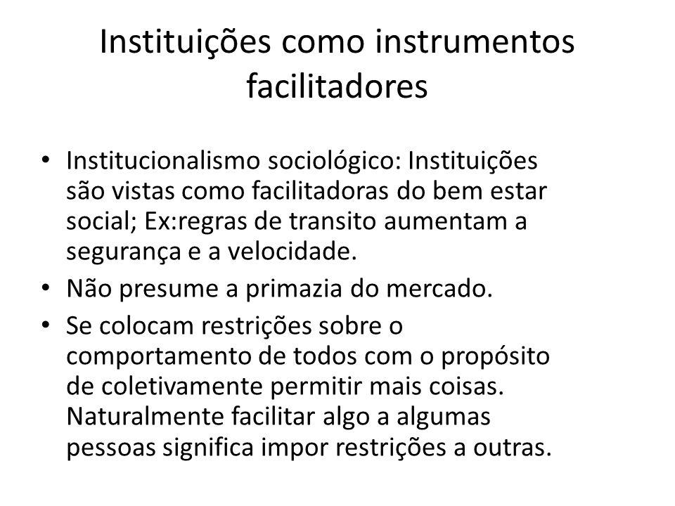 Instituições como instrumentos facilitadores Institucionalismo sociológico: Instituições são vistas como facilitadoras do bem estar social; Ex:regras