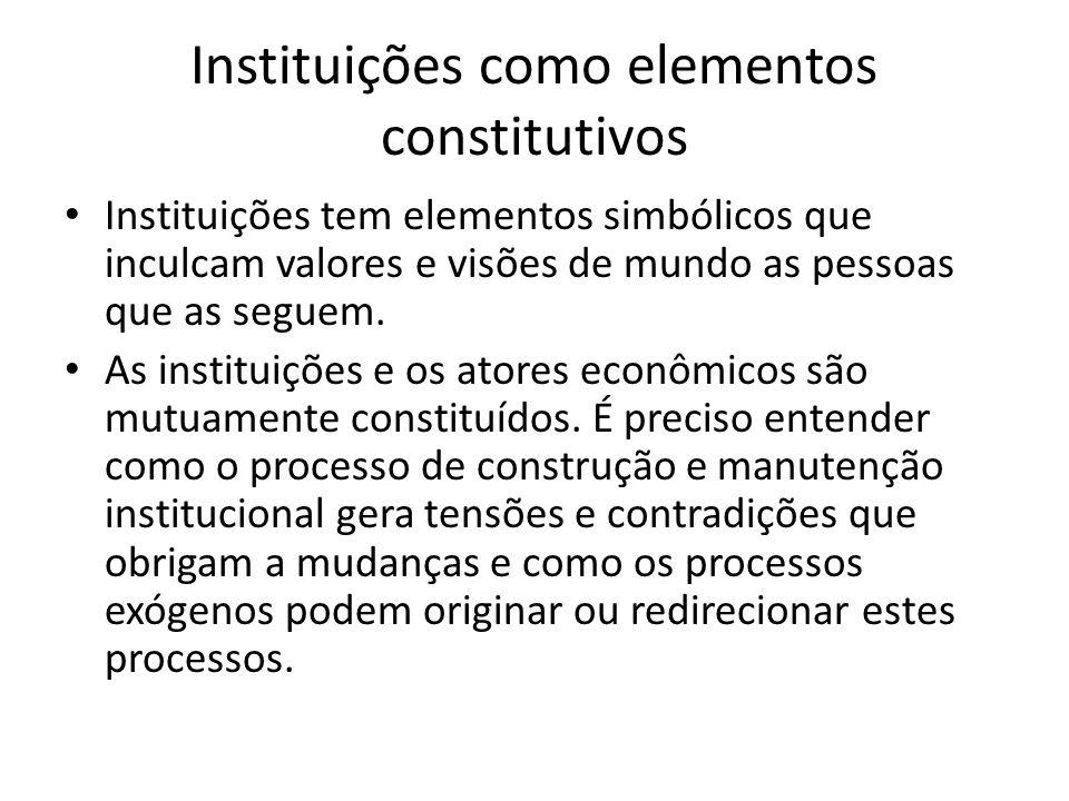 Instituições como elementos constitutivos Instituições tem elementos simbólicos que inculcam valores e visões de mundo as pessoas que as seguem. As in