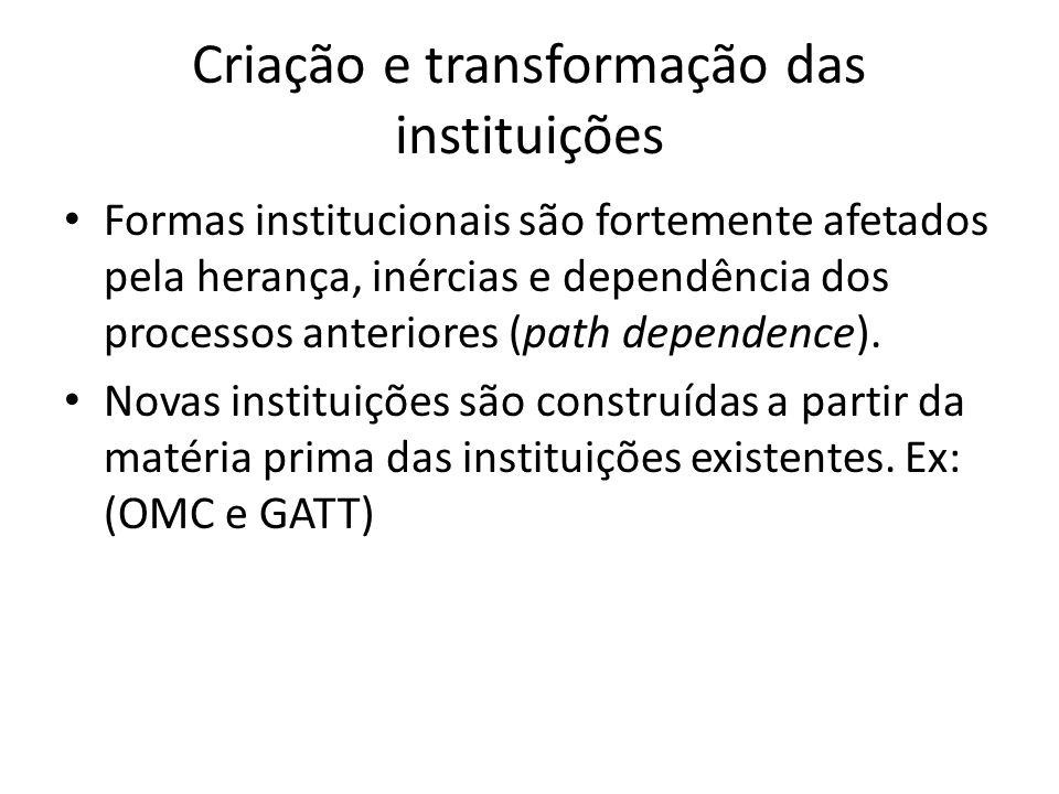 Criação e transformação das instituições Formas institucionais são fortemente afetados pela herança, inércias e dependência dos processos anteriores (