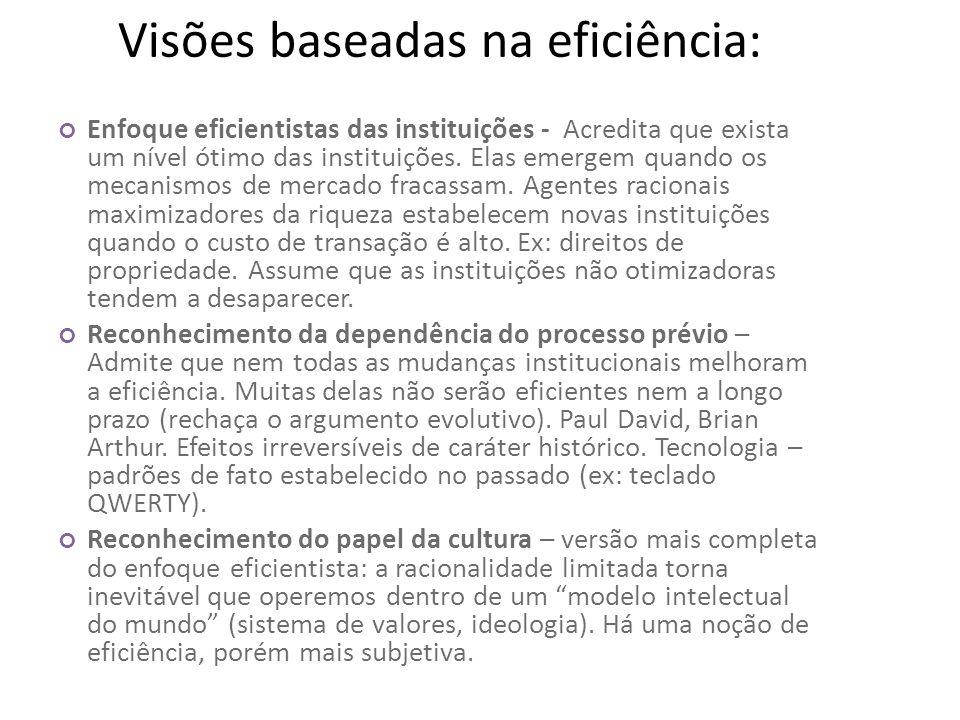 Visões baseadas na eficiência: Enfoque eficientistas das instituições - Acredita que exista um nível ótimo das instituições. Elas emergem quando os me