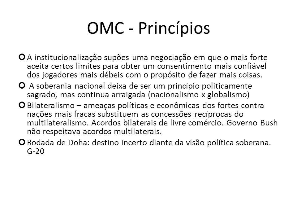 OMC - Princípios A institucionalização supões uma negociação em que o mais forte aceita certos limites para obter um consentimento mais confiável dos