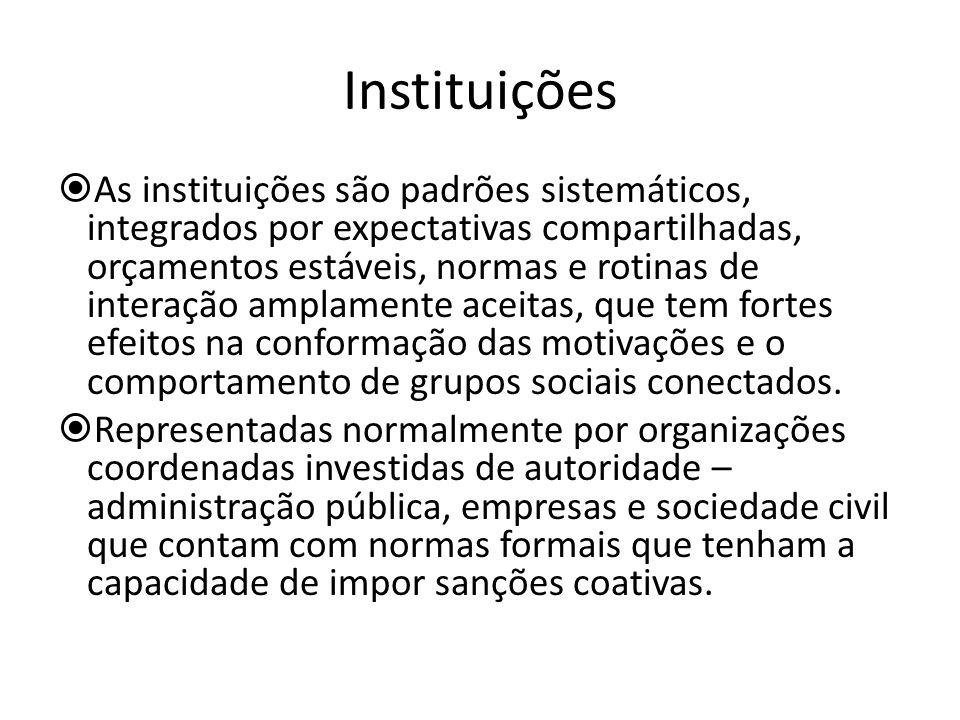 Instituições As instituições são padrões sistemáticos, integrados por expectativas compartilhadas, orçamentos estáveis, normas e rotinas de interação