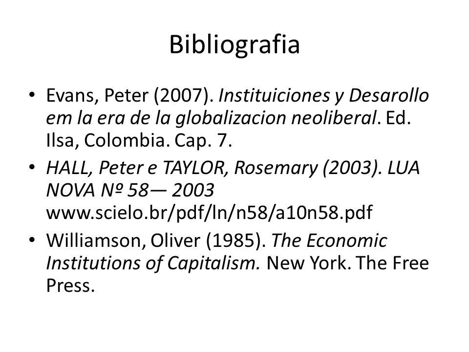Bibliografia Evans, Peter (2007). Instituiciones y Desarollo em la era de la globalizacion neoliberal. Ed. Ilsa, Colombia. Cap. 7. HALL, Peter e TAYLO