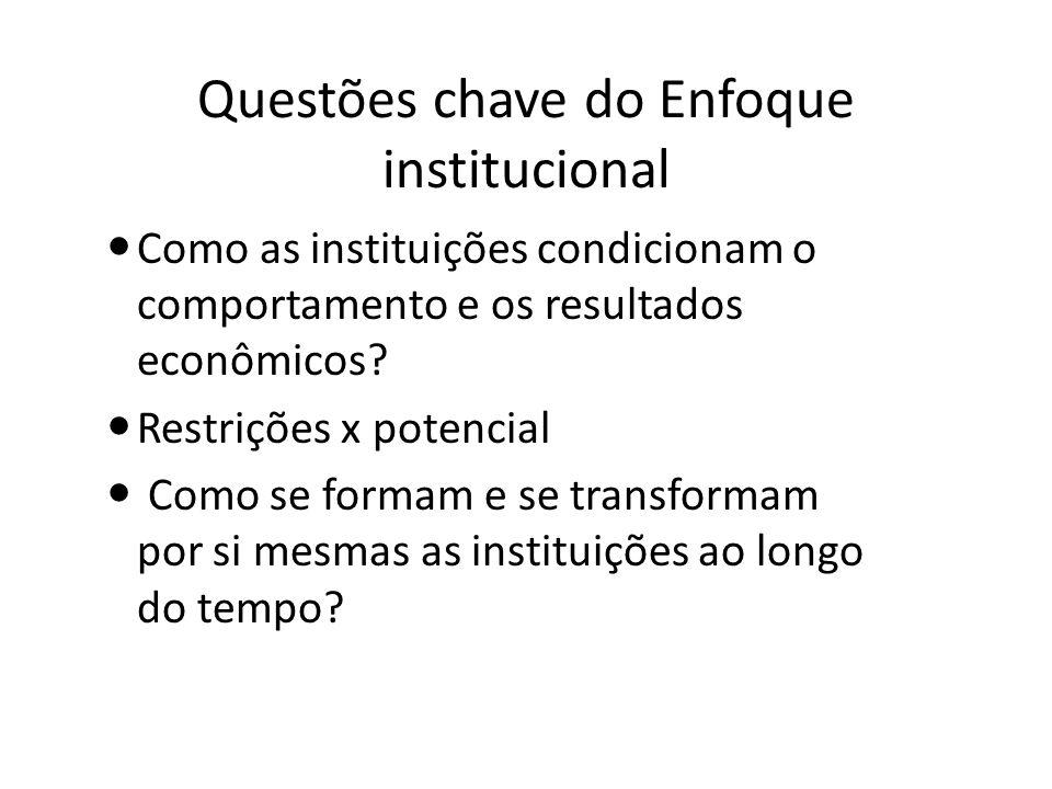 Questões chave do Enfoque institucional Como as instituições condicionam o comportamento e os resultados econômicos? Restrições x potencial Como se fo