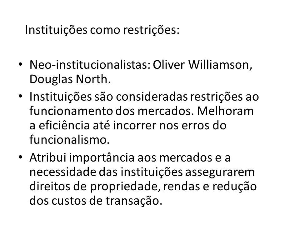 Instituições como restrições: Neo-institucionalistas: Oliver Williamson, Douglas North. Instituições são consideradas restrições ao funcionamento dos