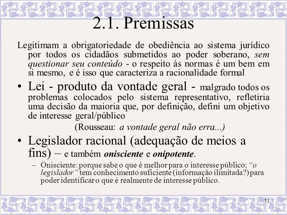 11 2.1. Premissas Legitimam a obrigatoriedade de obediência ao sistema jurídico por todos os cidadãos submetidos ao poder soberano, sem questionar seu