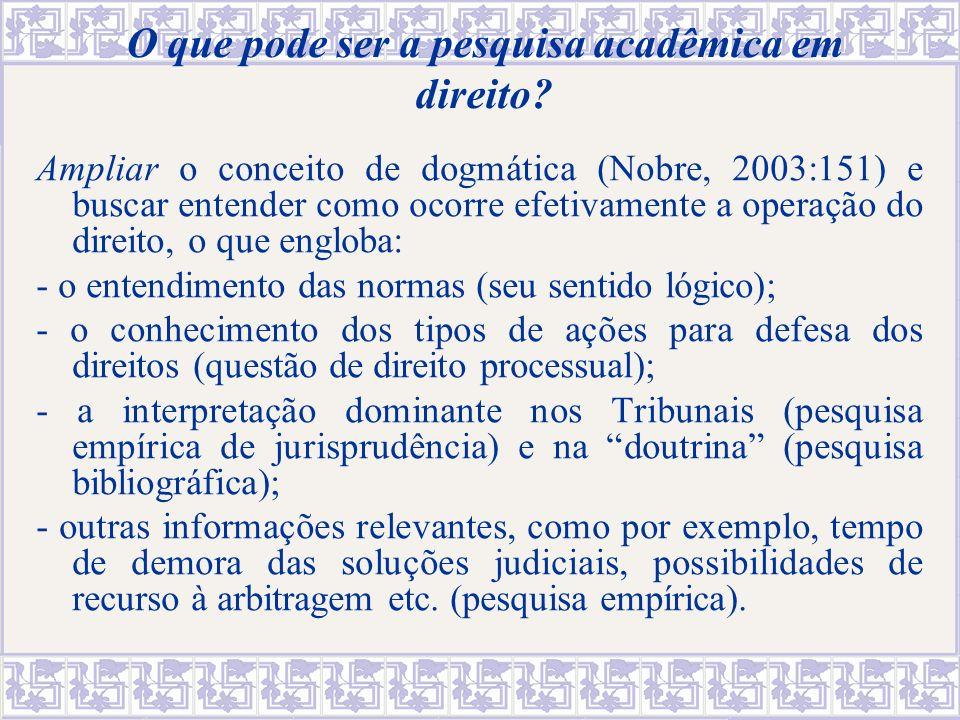 O que pode ser a pesquisa acadêmica em direito? Ampliar o conceito de dogmática (Nobre, 2003:151) e buscar entender como ocorre efetivamente a operaçã