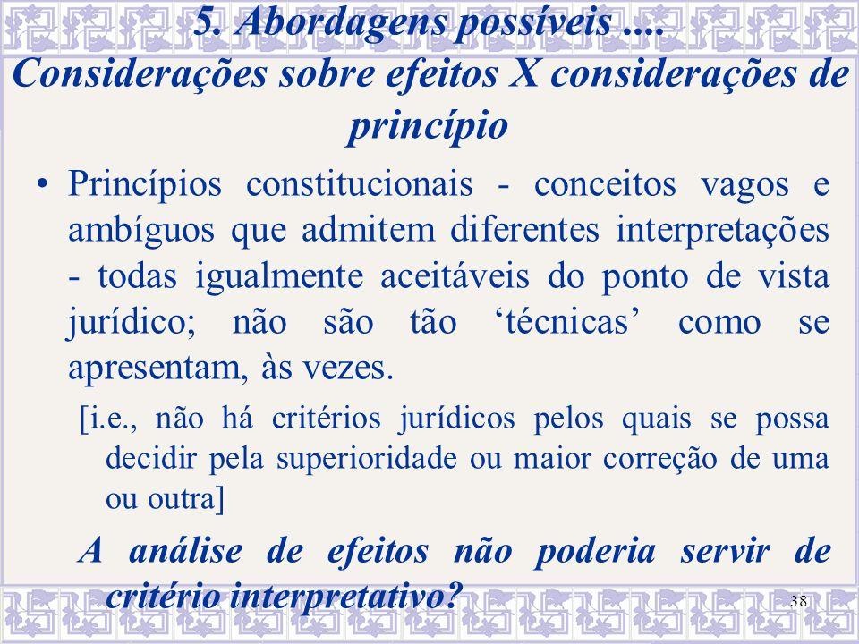 efeitos X princípios O que legitima um princípio.