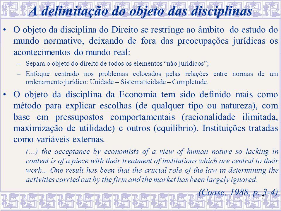 7 A delimitação do objeto das disciplinas O objeto da disciplina do Direito se restringe ao âmbito do estudo do mundo normativo, deixando de fora das
