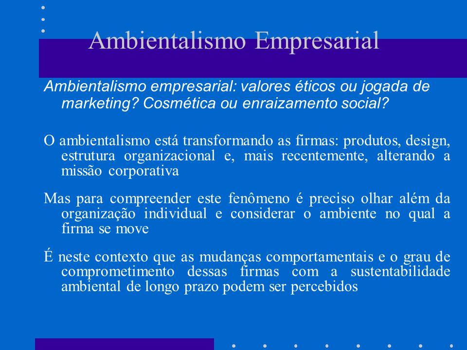 Ambientalismo Empresarial Ambientalismo empresarial: valores éticos ou jogada de marketing.