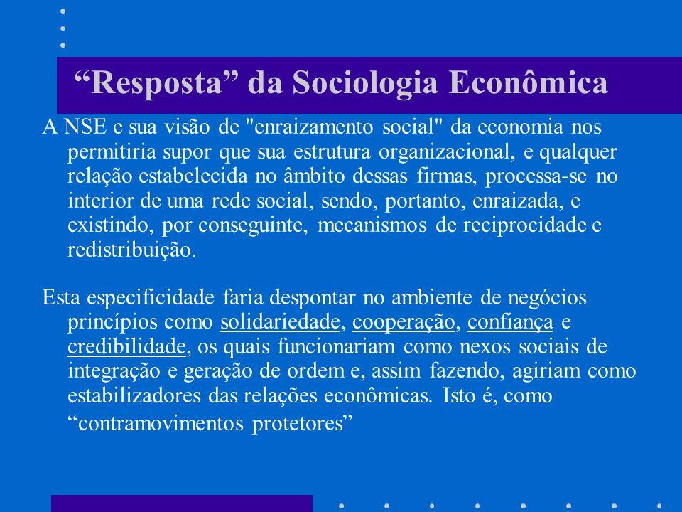 Resposta da Sociologia Econômica A NSE e sua visão de enraizamento social da economia nos permitiria supor que sua estrutura organizacional, e qualquer relação estabelecida no âmbito dessas firmas, processa-se no interior de uma rede social, sendo, portanto, enraizada, e existindo, por conseguinte, mecanismos de reciprocidade e redistribuição.