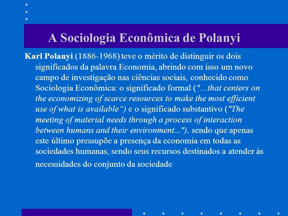 (cont...Polanyi) Polanyi percebeu que nem todas as sociedades humanas alocaram recursos escassos para incrementar a eficiência na produção.