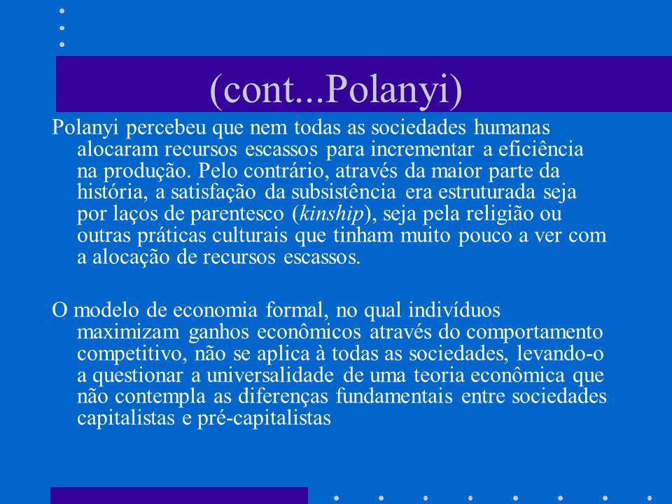 A Grande Transformação (1944) Polanyi apresenta sua tese histórica, cuja principal contribuição foi a de ter resgatado a dinâmica dos sistemas econômicos nas sociedades pré- capitalistas para explicar as motivações do homem como ser social.