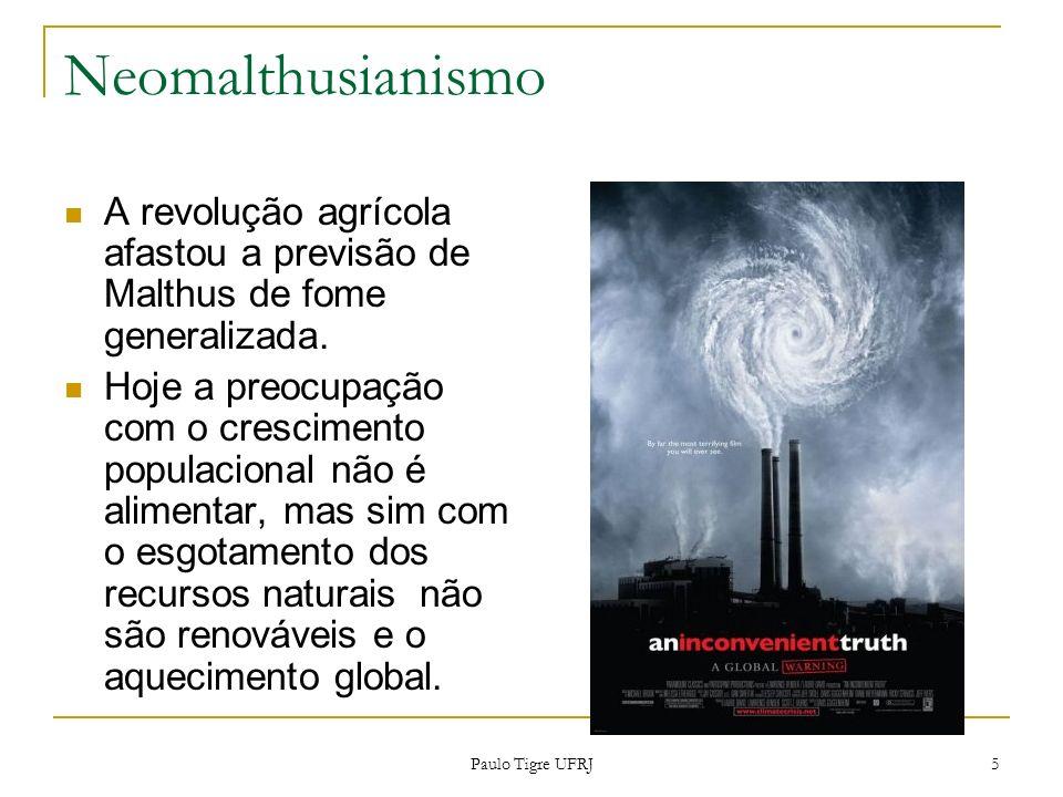 Neomalthusianismo A revolução agrícola afastou a previsão de Malthus de fome generalizada. Hoje a preocupação com o crescimento populacional não é ali