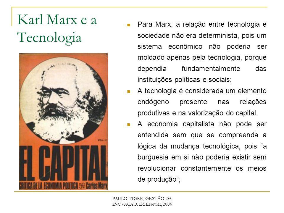 Karl Marx e a Tecnologia Para Marx, a relação entre tecnologia e sociedade não era determinista, pois um sistema econômico não poderia ser moldado apenas pela tecnologia, porque dependia fundamentalmente das instituições políticas e sociais; A tecnologia é considerada um elemento endógeno presente nas relações produtivas e na valorização do capital.