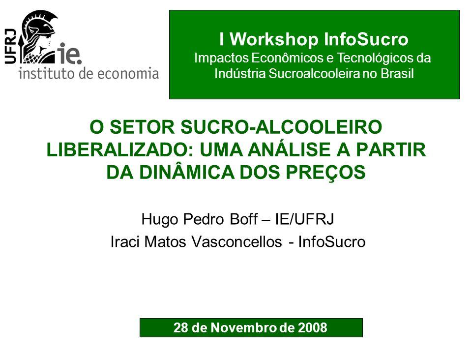 ELASTICIDADE DO PREÇO DE EQUILIBRIO DO ÁLCOOL COM RELAÇÃO AO PREÇO DO AÇÚCAR: RIO e SÃO PAULO (2001: 07 - 2008: 08 ) Médias: 0.36 (Rio) ; 0.46 (São Paulo)