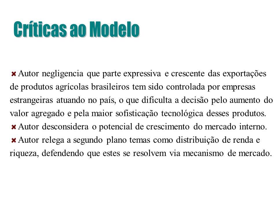 Autor negligencia que parte expressiva e crescente das exportações de produtos agrícolas brasileiros tem sido controlada por empresas estrangeiras atu
