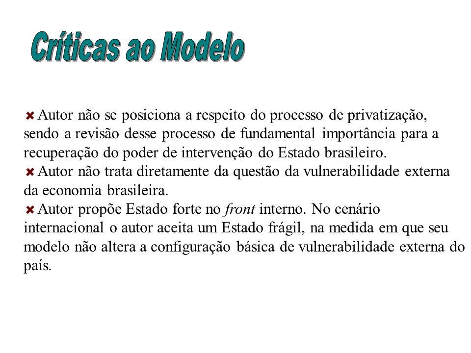 Autor não se posiciona a respeito do processo de privatização, sendo a revisão desse processo de fundamental importância para a recuperação do poder d