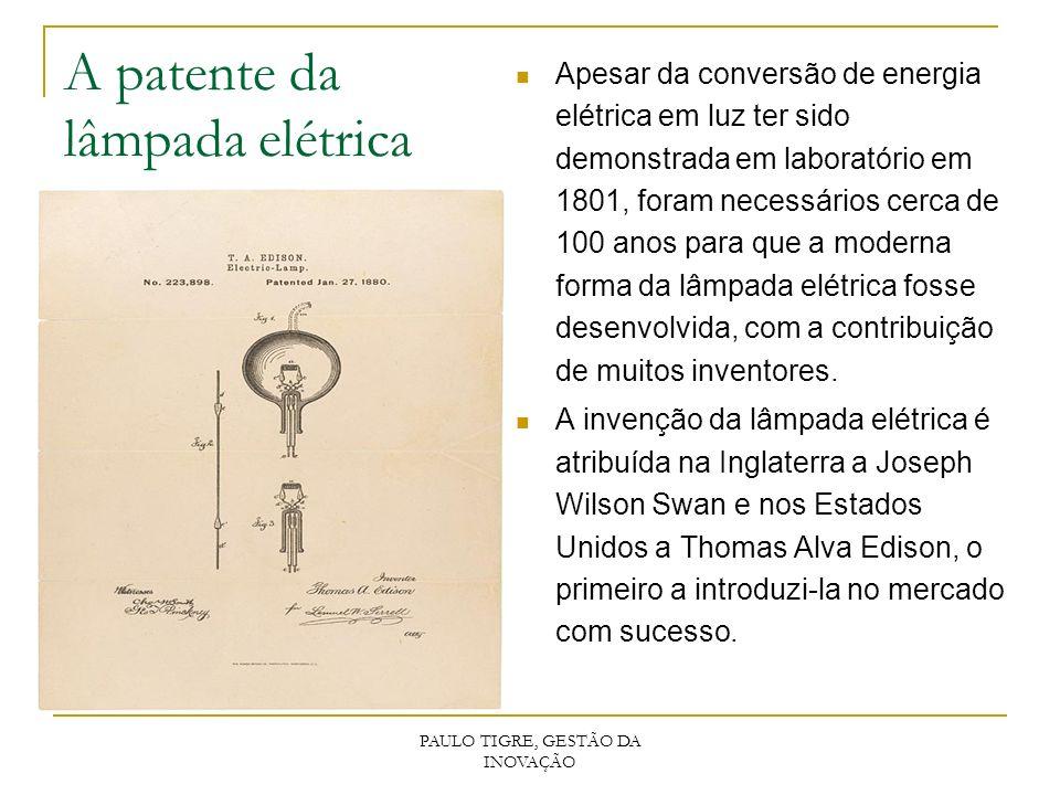 PAULO TIGRE, GESTÃO DA INOVAÇÃO A patente da lâmpada elétrica Apesar da conversão de energia elétrica em luz ter sido demonstrada em laboratório em 18
