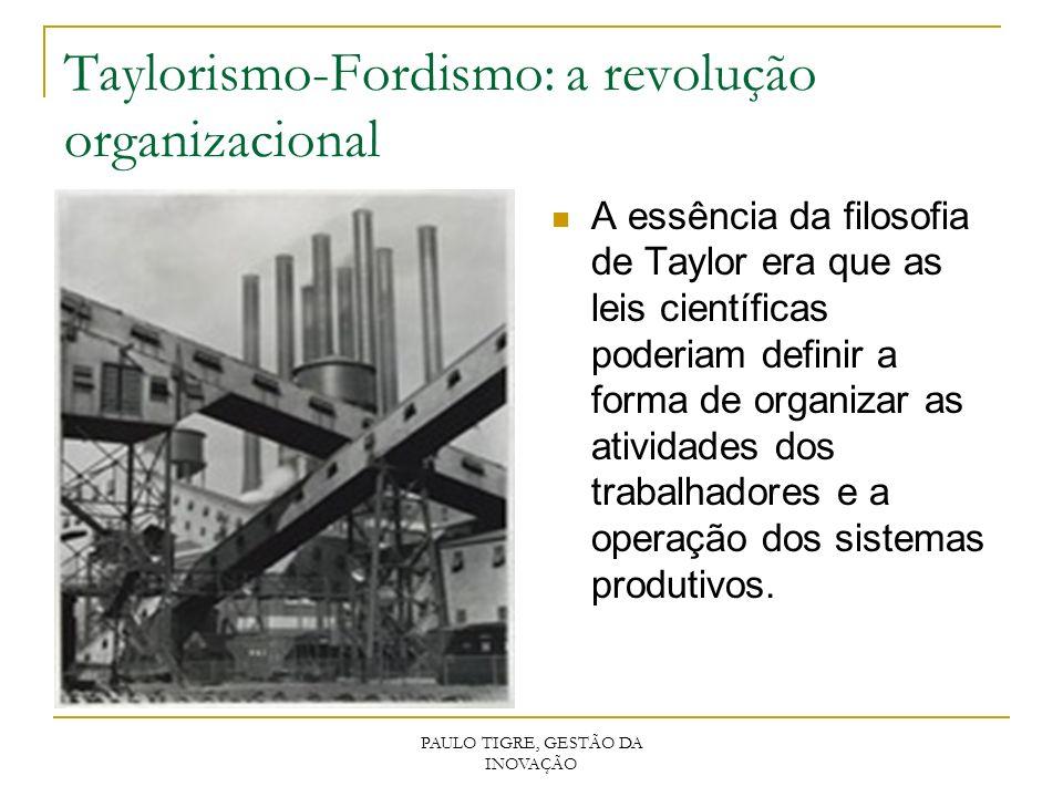 PAULO TIGRE, GESTÃO DA INOVAÇÃO Taylorismo-Fordismo: a revolução organizacional A essência da filosofia de Taylor era que as leis científicas poderiam
